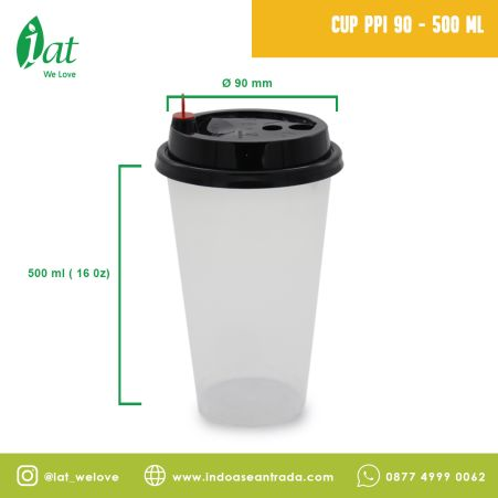 Beverage Cups PP Injection Cup 16 oz (D90 mm - 500 ml)  1 cup_black_cup_ppi_90_500ml