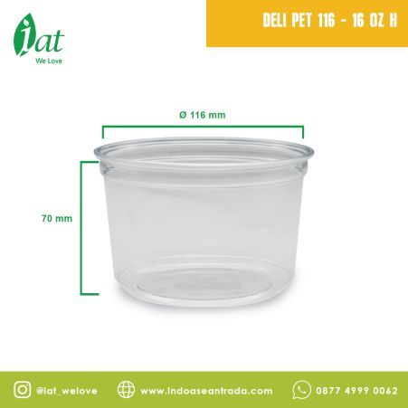 Fruits / Salad Container Deli Container 16 oz (D116 mm - 470 ml) Outer Lock 1 deli_pet_116__16_oz_h